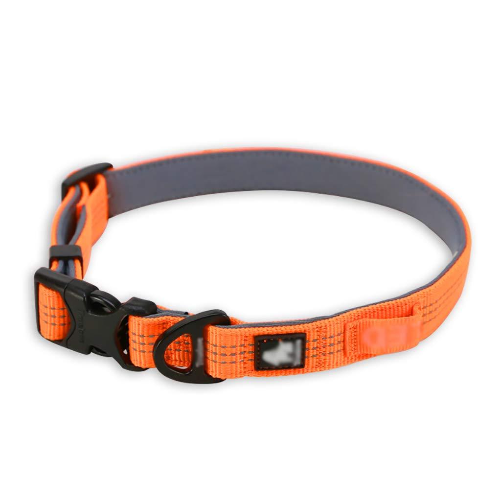 Pet Supplies Collars Walking the dog Dog collars Small dog Medium dog Reflective strip Soft comfortable Convenient safe (color   A, Size   L 4565  2.5CM)