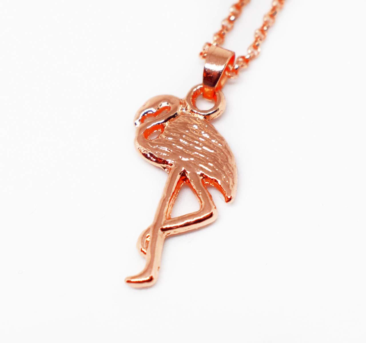 Flamingo Halskette mit Anh/änger 45-51cm Rose Goldfarbe