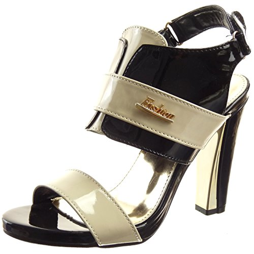 Sopily - Zapatillas de Moda Sandalias Tacón escarpín Abierto Caña baja mujer acabado costura pespunte metálico Talón Tacón ancho alto 10.5 CM - Negro