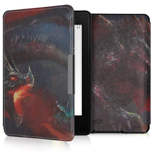 kwmobile Case for Amazon Kindle Paperwhite - Book Style PU Leather Protective e-Reader Cover Folio Case - (for 2017 and Older) Orange/Red/Black ()