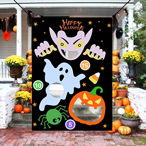 KOMIWOO Ghost Pumpkin Bean Bag Toss Games with 3 Bean Bags, Kids Halloween Party Games Halloween Decorations -