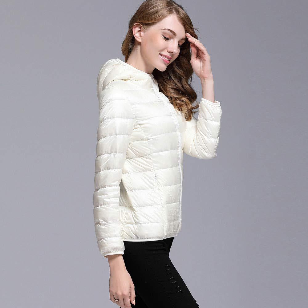 AOJIAN Women Jacket Long Sleeve Outwear Hooded Puffer Pocket Zipper Bright Color Slim Fit Solid Coat