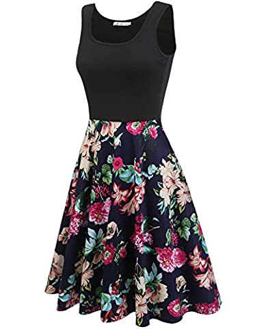Macr&Steve Womens Summer Sleeveless Floral Vintage Swing Cocktail Party Dress, Large, Navy Blue - Cocktail Dress Jacket