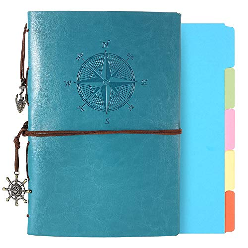 Leather Journal, Refillable Notebook Vintage Spiral Bound Notepad Diary Travel Journal to Write in for Women Men with Lined Pages and 5 -