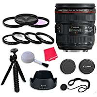 Canon EF 24–70mm f/4L IS USM Lens with 77mm 3 Piece Filter Kit for Canon EOS 7D Mark II, 60D, 70D, 80D, 6D, 5D Mark III, 5DS, 5DS-R, Digital SLR Cameras - International Version (No Warranty)