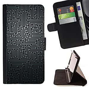 DEVIL CASE - FOR Sony Xperia Z1 Compact D5503 - Maze Black White Puzzle Mystery Pattern Lines - Style PU Leather Case Wallet Flip Stand Flap Closure Cover