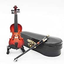 Odoria 1:12 Miniature Violin with Stand Bow and Case Wooden Music Instrument Dollhouse Accessories