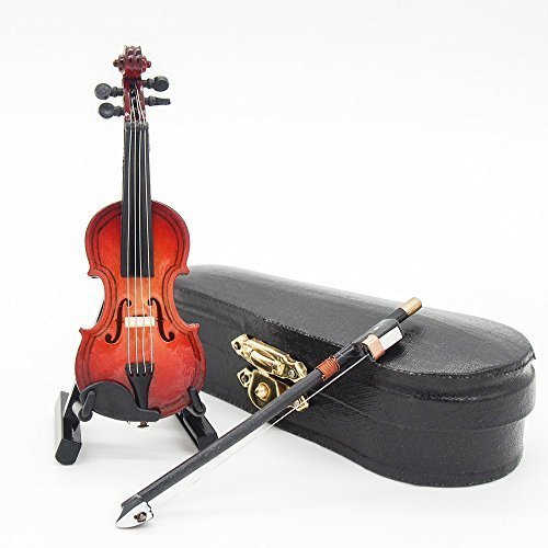 Odoria 1:12 Violin with Stand Bow and Case Wooden Musical Instrument Miniaure Dollhouse - Musical Instrument Accessories