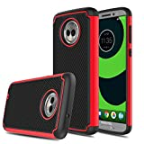 "Moto G6 Case, Moto G 6th Generation Case, Elegant Choise Hybrid Shock Absorbing Rubber Scratch Resistant Defender Bumper Rugged Hard Cover Case for Motorola Moto G6 5.7"" 2018 Release (Red/Black)"