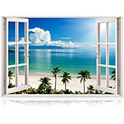 Bomba-Deal Large Poster Realistic Peel and Stick Nautical Decor for Living Room, Bedroom, Office, Playroom – Beach Wall Murals Removable Window Frame Style Ocean Wall Art – Vinyl Wall Decal Stickers
