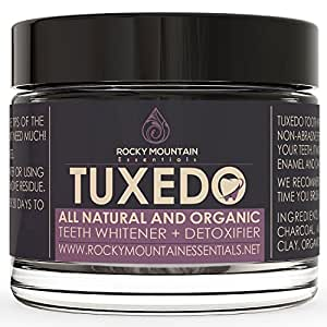 Tuxedo Teeth Whitening Activated Charcoal Powder, All Natural Tooth Whitener with Coconut Charcoal, and Bentonite Clay, Highest Quality Non Abrasive Safe on Enamel (Original)