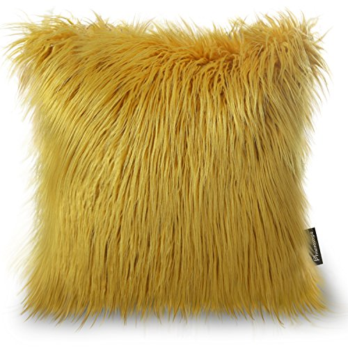 Phantoscope Decorative New Luxury Series Merino Style Ginger Fur Throw Pillow Case Cushion Cover 18