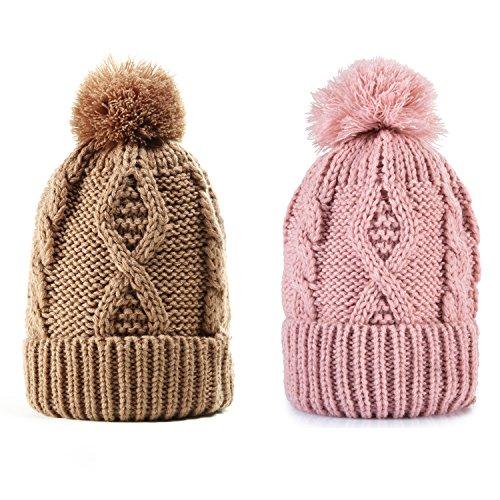 REDESS Women Winter Pom Pom Beanie Hat with Warm Fleece Lined, Thick Slouchy Snow Knie Skull Ski Cap by Knit Ski