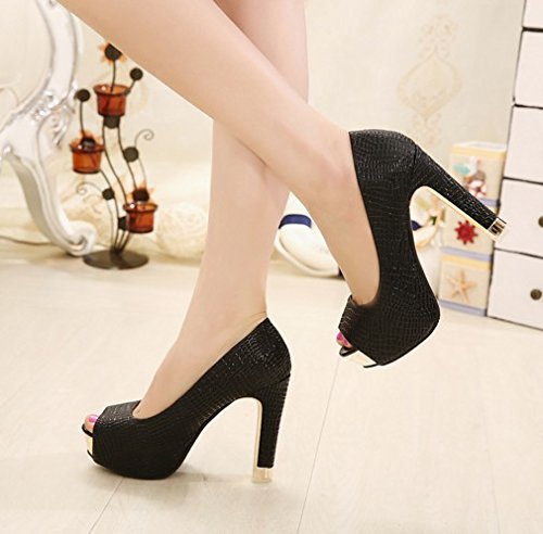 GTVERNH-Damen damen Pumps Heels Einzelne Einzelne Einzelne Schuhe Frauen Fisch Münder 12Cm Super - Heels Grob Hacken f2bbdc