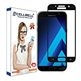 CELLBELL Samsung Galaxy A7 (2017)(FULL GLUE)(EDGE TO EDGE)(BLACK) Tempered Glass Screen Protector With FREE Installation Kit