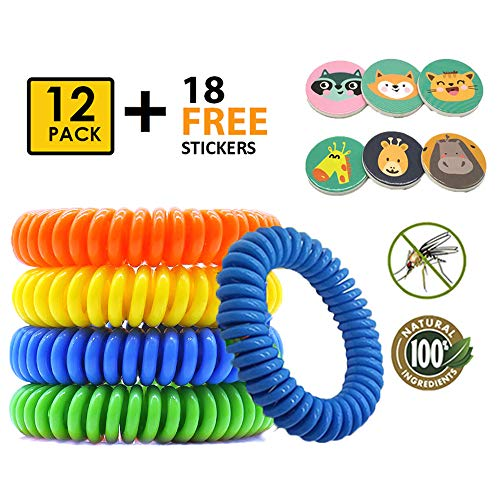 COSYWORLD Mosquito Repellent Bracelet for Kids & Adults, Natural DEET-Free Non-Toxic Safe Bands, Insect & Bug Protection Waterproof Wristbands 12 Pack with Free 18 Animal Patches for Indoor & Outdoor