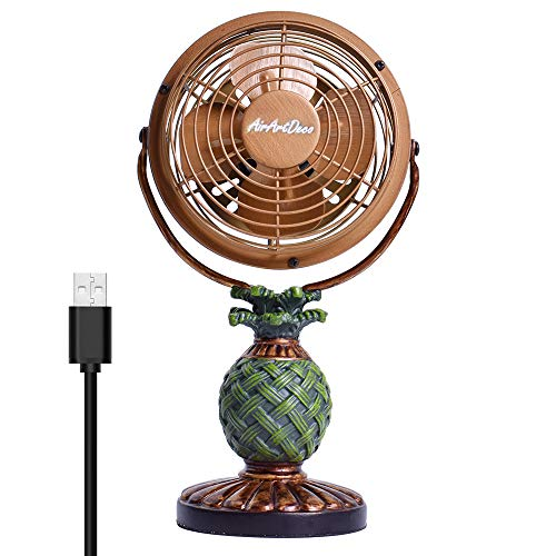 AirArtDeco Mini USB Desk Personal Fan, Quiet Operation, Metal Design,Decorative fan, USB Cable Powered, Powerful Fan for Home and Office by AirArtDeco