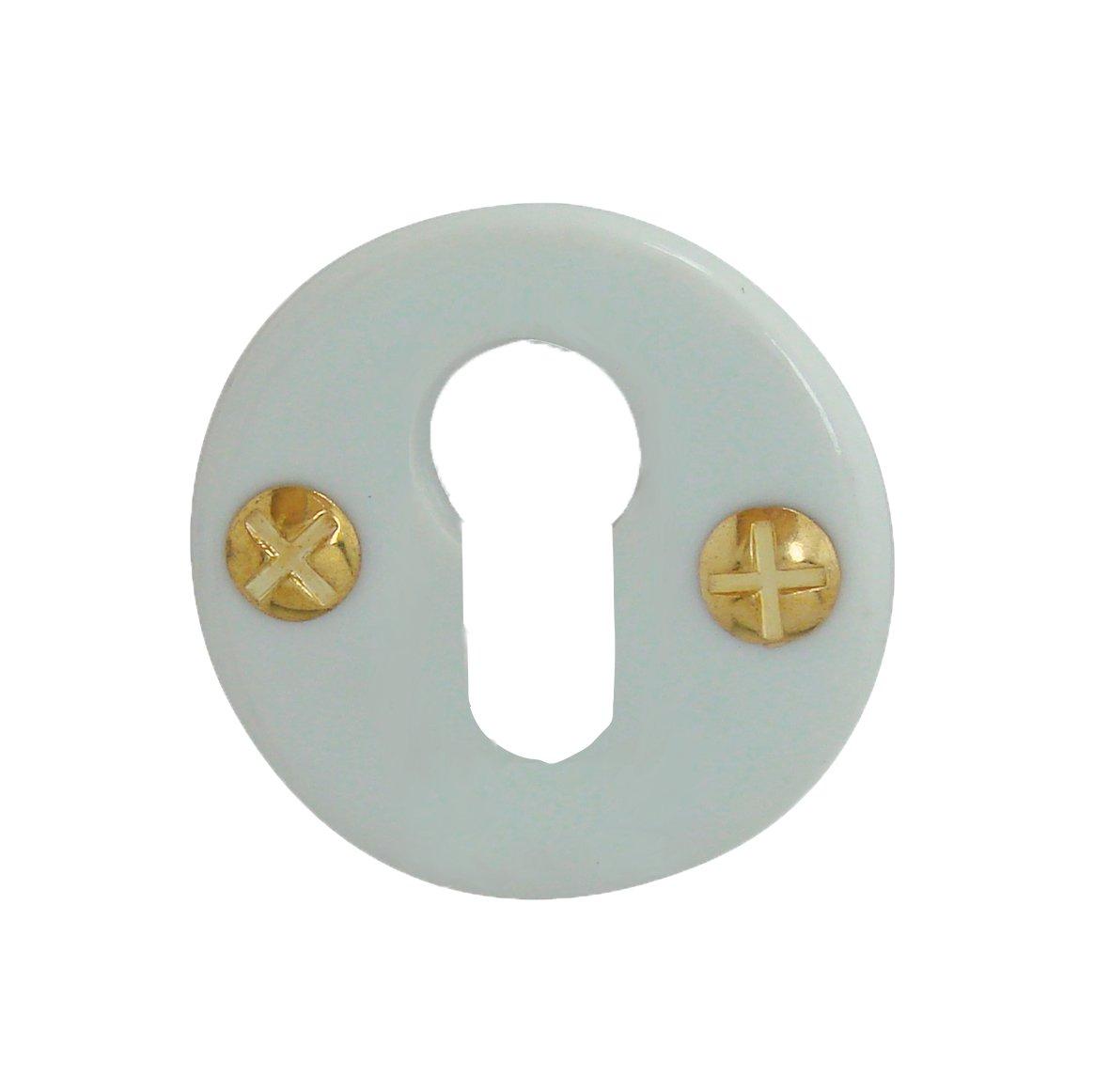 Rosace de fonction porcelaine Blanc trou cylindre DOORTOOLS