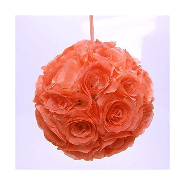 Ben Collection 7″ Pomander Flower Kissing Ball Multi Color Home Wedding Decoration (10, Coral)