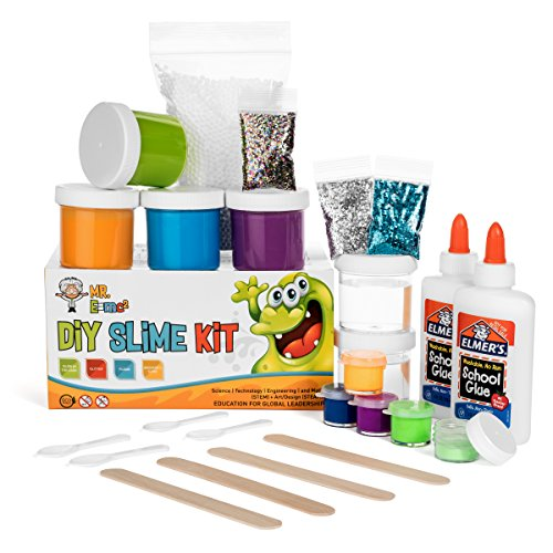Homemade Slime Kit | How to Make Slime, Putty, and Goo | Includes Slime Containers, Ingredients, and Supplies for 4 Different Kinds of Slime: Glow in the Dark, Neon Colored, - How Party Make A To Dark In Glow The