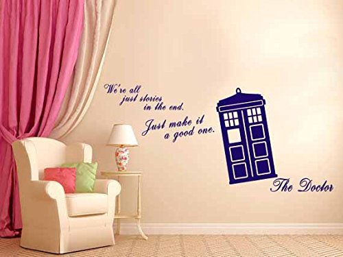 We Are All Stories - Doctor Life Inspirational quote - Wall Decal Vinyl Sticker (Navy Blue) ()