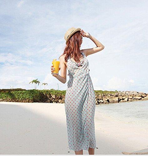 Des Femmes Beachwear Dissimulations Pellicule D'impression À Pois Longue Robe Dos Nu De Plage Bleu Clair