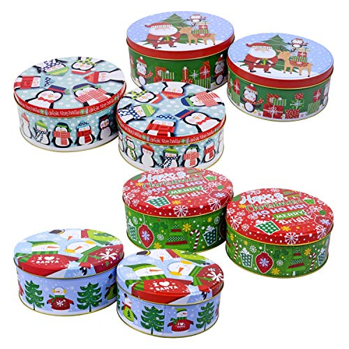 Round Nesting Tins With Holiday Print Designs Bundle of 2 Round Metal Tins with Lids for Cookies, Candy, Food Presents - 1- 6 and 3/4 Inches and 1- 6 inches Diameter (Tin Lids Christmas The)
