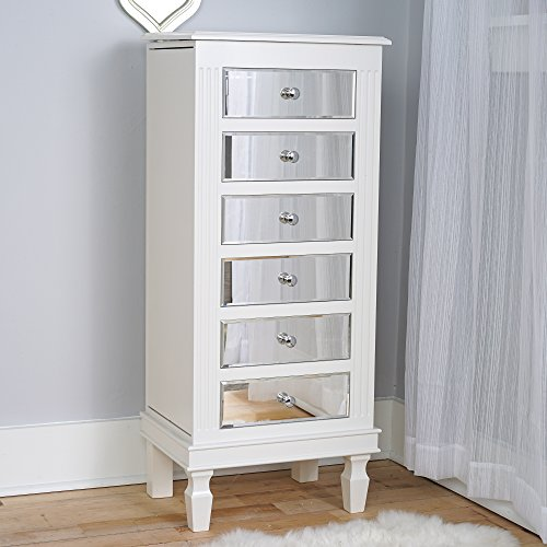 Hives & Honey Amy White Mirrored Jewelry Armoire Jewelry Stand ()