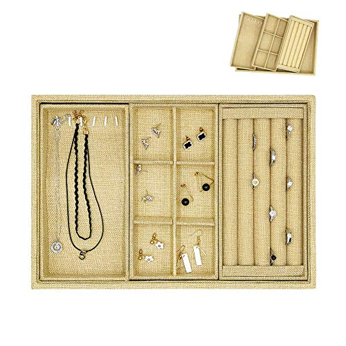 DesignSter Linen Jewelry Organizer Tray - 4 in 1 Removable Stackable Jewelry Display Showcase Storage Inserts Trays Holder for Ring, Earring, Necklace, Bracelet, Accessary (Set of 4)