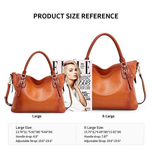 Kattee Women's Genuine Leather Handbags Shoulder Tote Organizer Top Handles Crossbody Bag Satchel Designer Purse 5