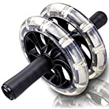 Tintec Ab Wheel Roller, Crystal Exercise Wheel with 4 Ball Bearings, Thick Knee Pad and Sturdy Dual Wheels for Home Gym Abdominal Crunch Core Training and Perfect Six Pack