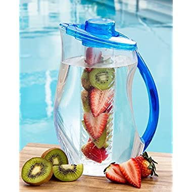 +New Design+ 3.2 Qt Fruit Infuser Water Pitcher 101 Oz BPA Free Acrylic Easy to Use Fruit Infusion Water Pitcher Large Enough to Use to Fill Multiple Fruit Infused Water Bottles