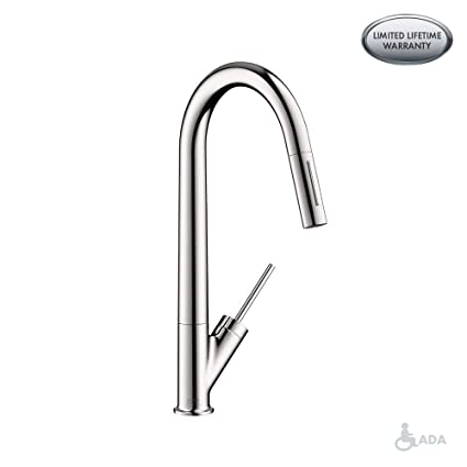 Axor Starck Luxury 1 Handle 18 Inch Tall Kitchen Faucet With Pull Down Sprayer Magnetic Docking Spray Head In Chrome 10821001