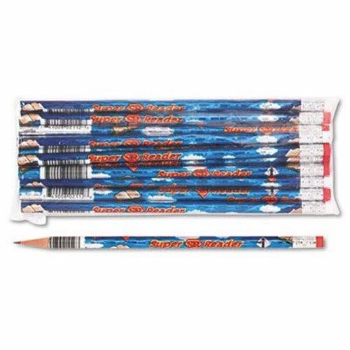 Moon Products 2112B Decorated Wood Pencil, Super Reader, HB #2, Blue, Dozen ()
