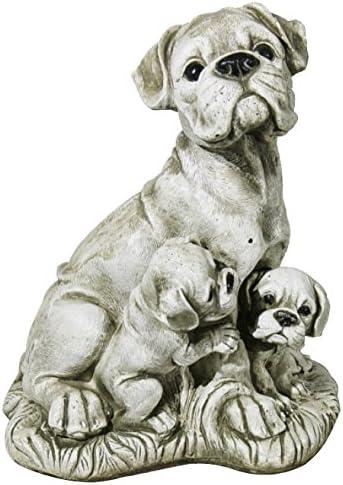 DEGARDEN AnaParra Figura Decorativa Perros Buldog de hormigón-Piedra para jardín o Exterior 32cm.: Amazon.es: Jardín