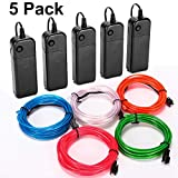 CPPSLEE EL Wire Kit Super Bright Portable Neon Light - 5 Color & 9.8 ft/pc Christmas Halloween Party Decoration - 4 Modes Battery Controllers