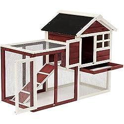 "zwan Wooden Rabbit Hutch 48"" Bunny Cage Pet House w/Ladder Outdoor Run Ebook"