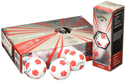 Callaway Chrome Soft X Golf Balls, Prior Generation, (One Dozen), White/Red Truvis Pattern