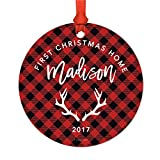Andaz Press Personalized Adoption Family Metal Christmas Ornament, Madison's First Christmas Home 2018, Country Lumberjack Buffalo Red Plaid, 1-Pack, Includes Ribbon and Gift Bag, Custom Name …