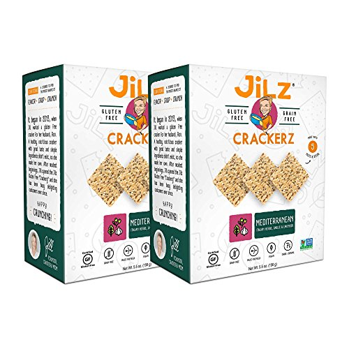 Jilz Gluten Free - Mediterranean Gluten Free & Organic Crackerz, 2 Pack (Garlic, Lavender & Rosemary, 5.5 oz)