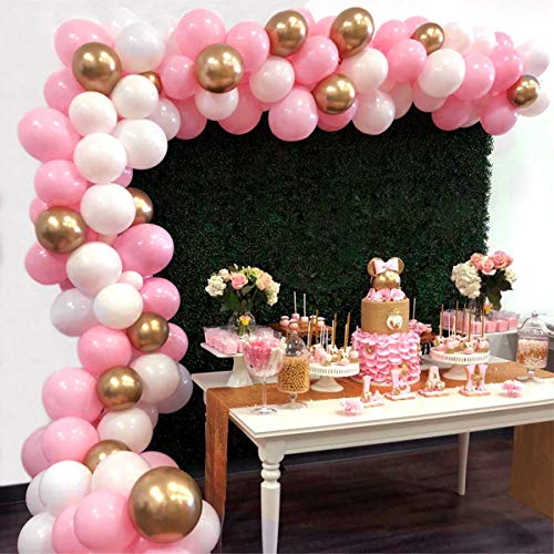 Balloon Garland Arch Kit 16Ft Long 112pcs Pink White Gold Balloons Pack for Girl Birthday Baby Shower Bachelorette Party Centerpiece Backdrop Background -
