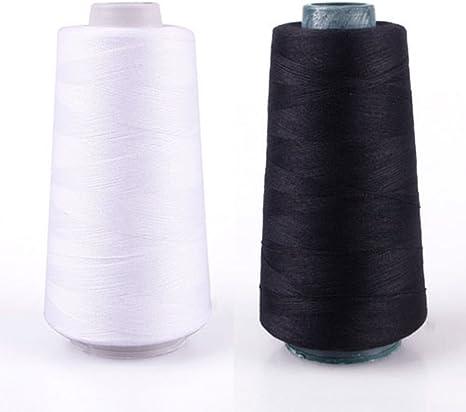maxgoods 3000 yardas 40s/2 hilo de coser bobinas de máquina de coser Industrial de poliéster de rosca duradera para tapicerías, mercado al aire libre, cortinas, Jeans, (negro y blanco): Amazon.es: Juguetes y