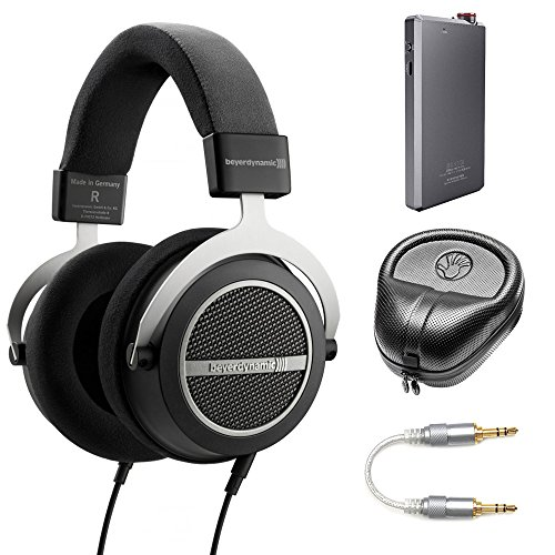 BeyerDynamic Amiron Home Tesla High-End Audiophile Stereo Headphones - 250 OHM (717525) with A5 Portable Headphone Amplifier, HardBody Headphone Case Black & 3.5mm-to-3.5mm Stereo Audio Cable (Beyerdynamic Home Audio Headphones)