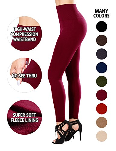 - Sejora Fleece Lined Leggings High Waist Compression Slimming Warm Opaque Tights (One Size, Burgundy)