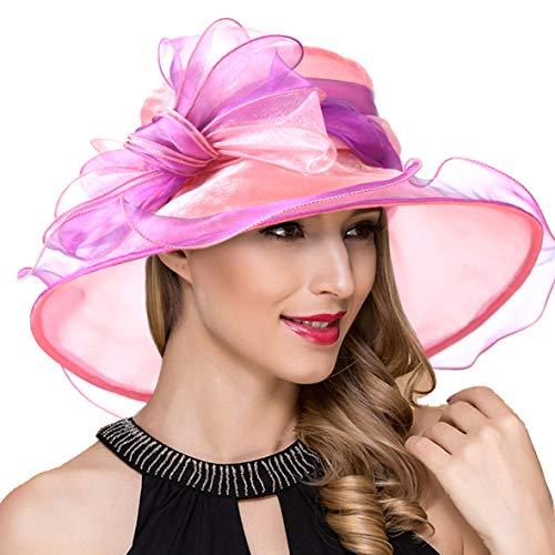 (Women Organza Kentucky Derby Church Dress Fascinator Wide Brim Wedding Tea Party Hats (Pink Bow))