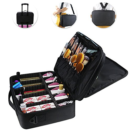 OR Pure Makeup Train Case Cosmetic Organizer Makeup Artist Box Adjustable Shoulder for Makeup Brush Hair Style Nail Beauty Tool Fit on Trolley for Travel 16.512.25.5 Inch Black