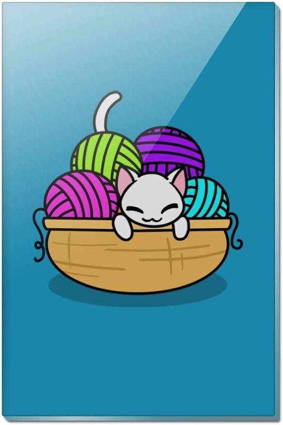 Cat In Yarn Basket Rectangle Acrylic Fridge Refrigerator Magnet