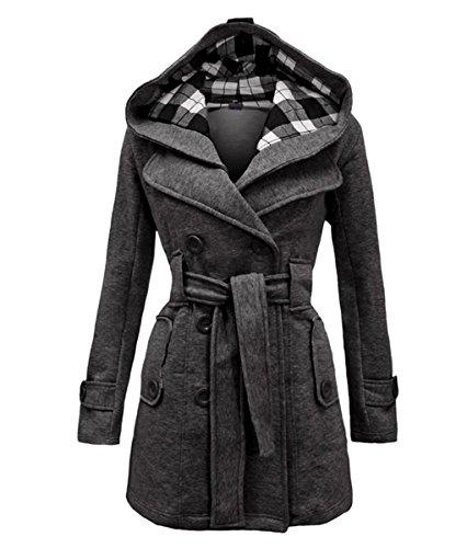 Geben Women's Winter Warm Fleece Check Hooded Double Breast Coat Jacket Medium Darkgrey