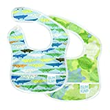 Bumkins - Babero impermeable para principiantes, 2 unidades, Blue Crocs and Turtles, 3-9 Months
