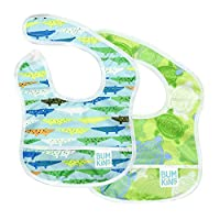 Babero de iniciación Bumkins, babero para bebé, impermeable, lavable, resistente a las manchas y los olores, 3-9 meses, paquete de 2 - Cocodrilos y tortugas